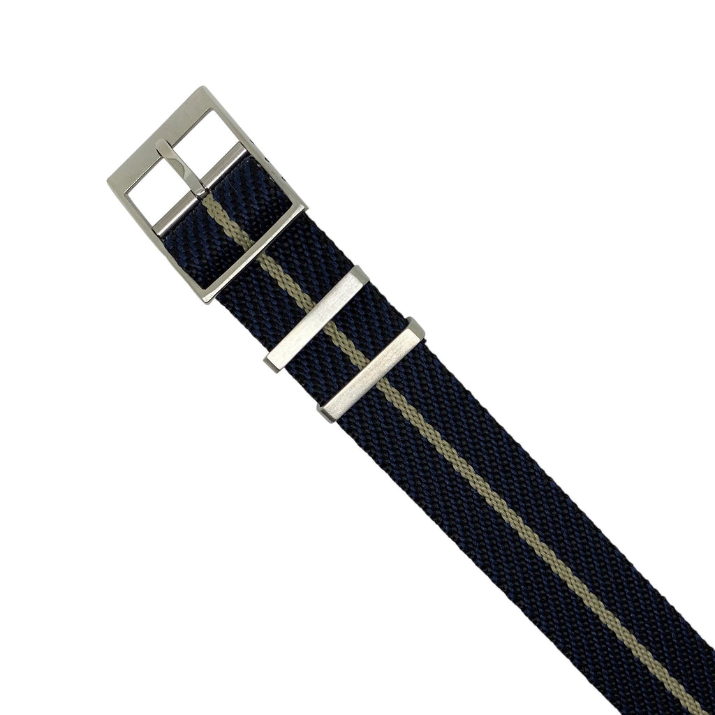 Lux Single Pass Strap in Navy Khaki with Silver Buckle (20mm)