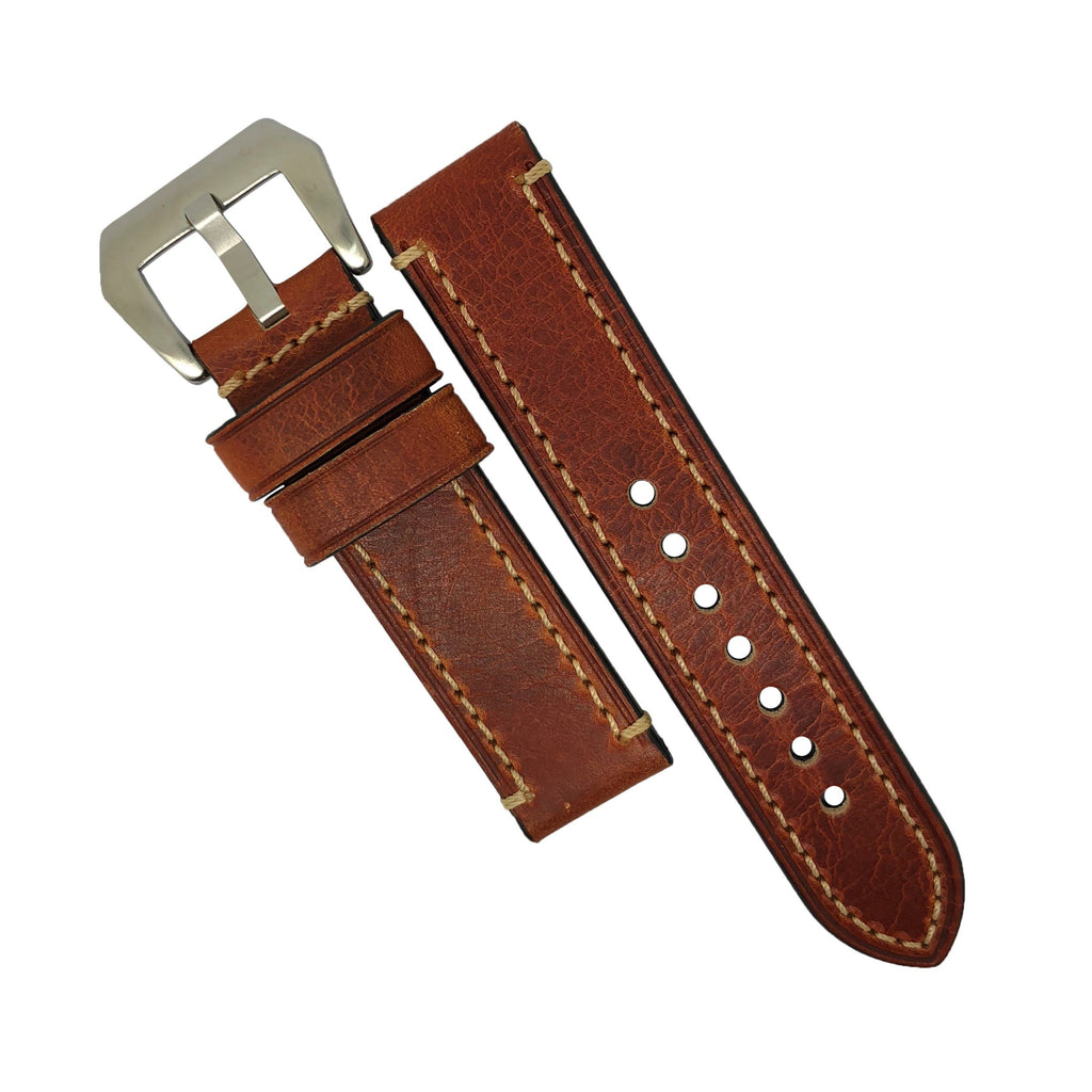 M1 Vintage Leather Watch Strap in Amber with Pre-V Silver Buckle (22mm) - Nomad watch Works