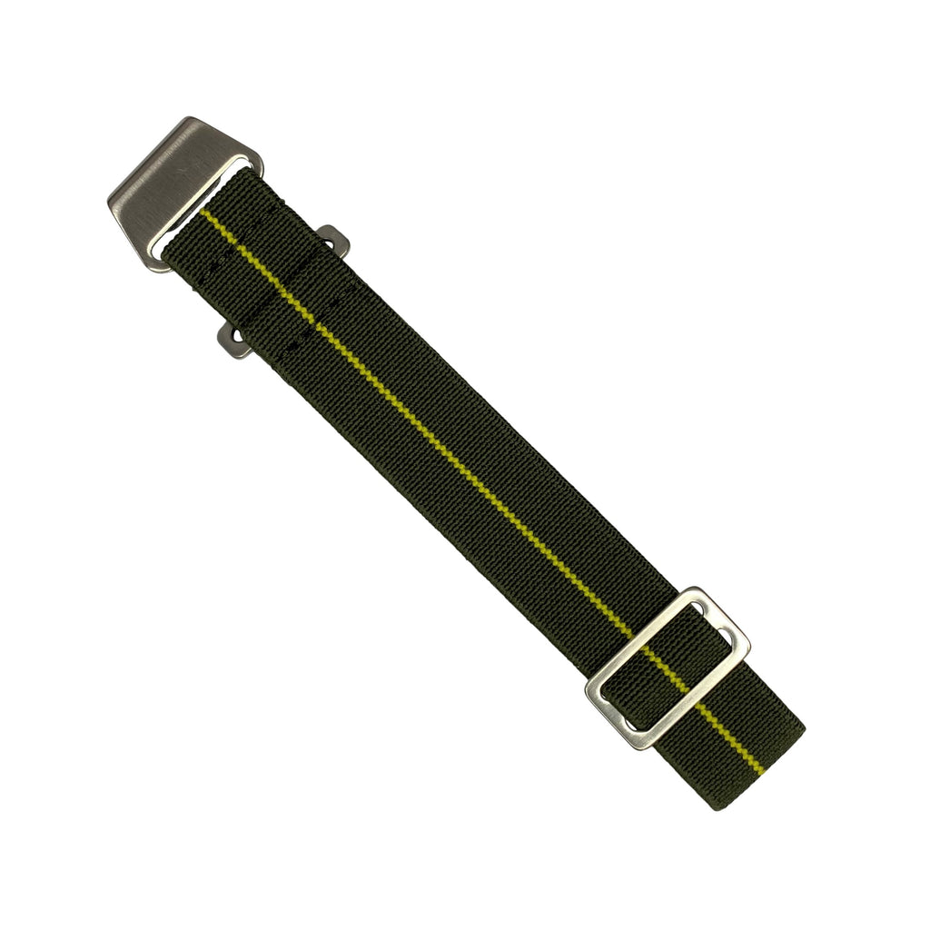 Marine Nationale Strap in Olive Yellow with Silver Buckle (20mm)