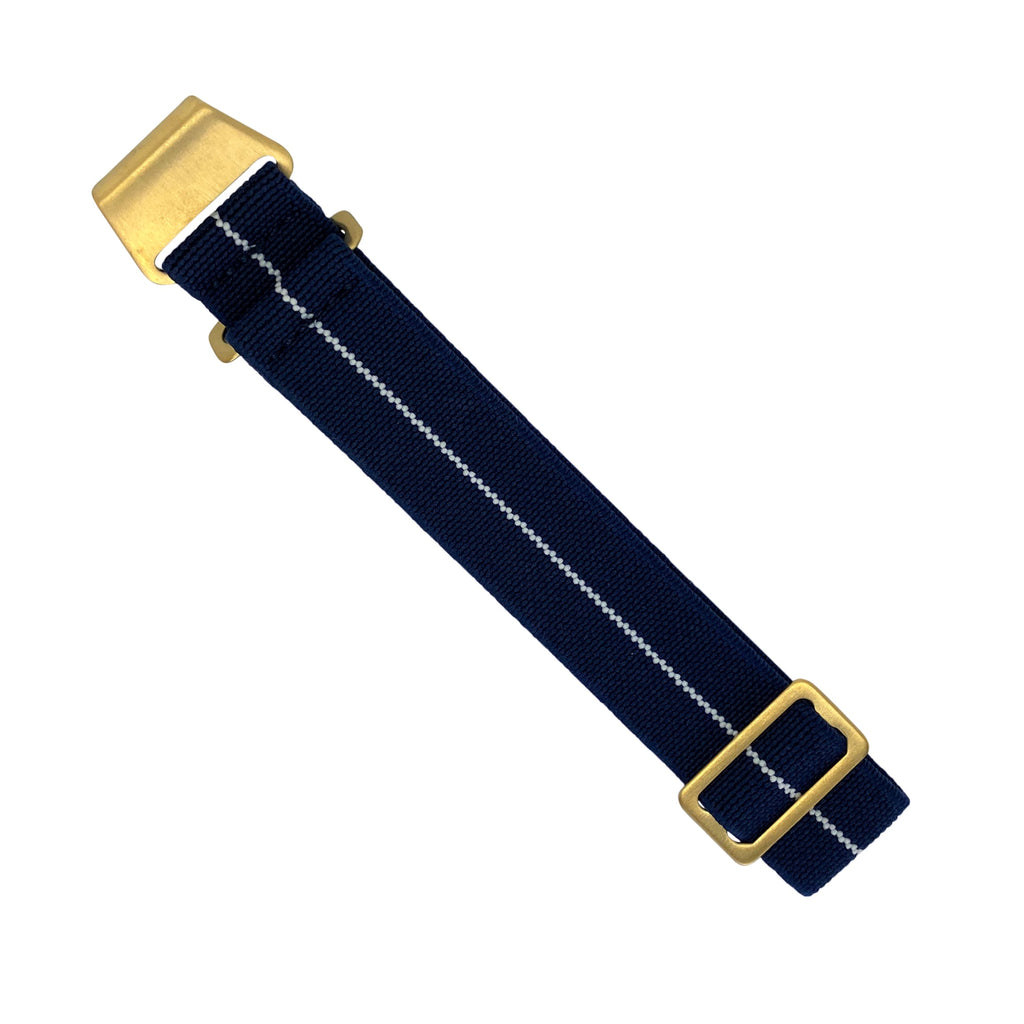 Marine Nationale Strap in Navy White with Bronze Buckle (22mm)