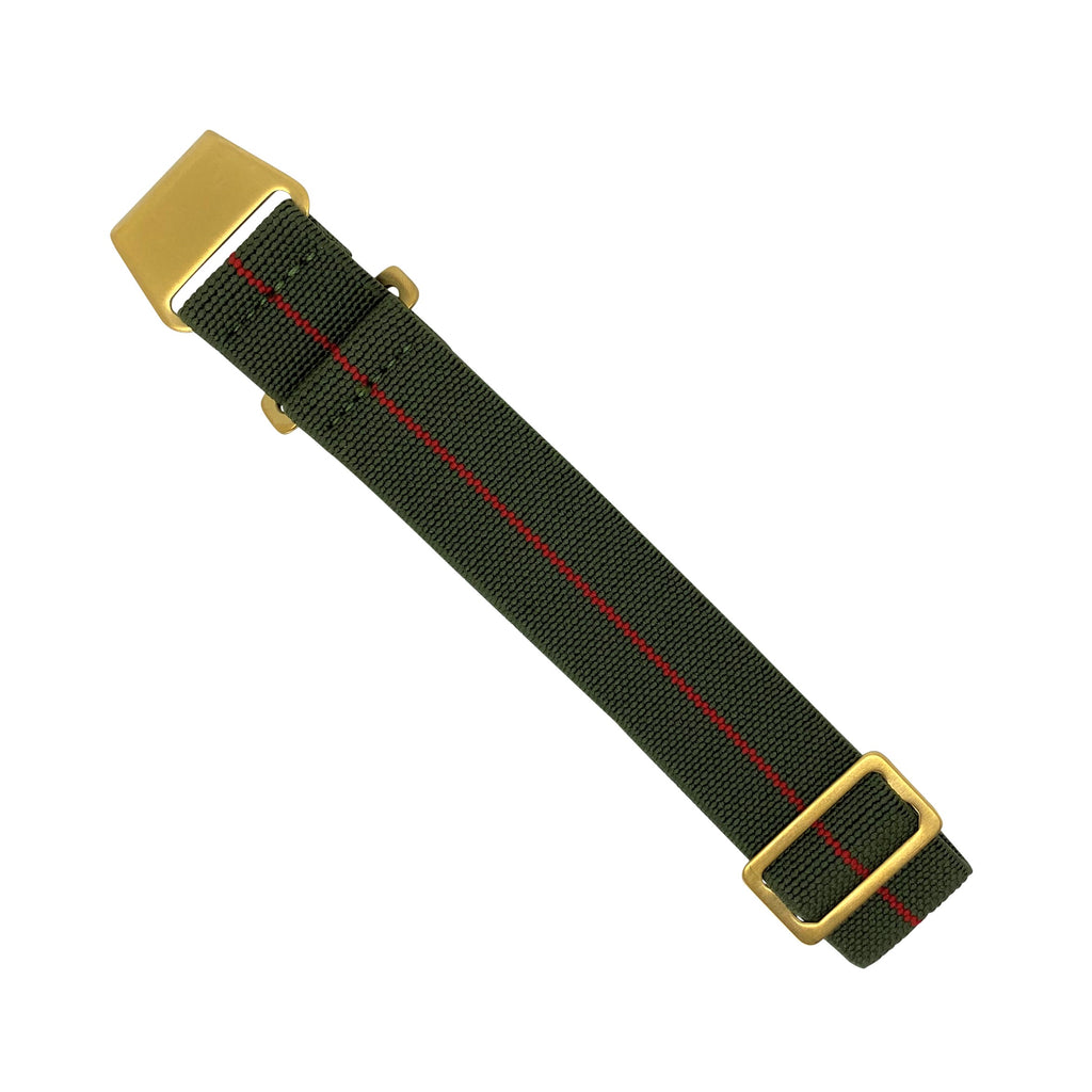 Marine Nationale Strap in Olive Red with Bronze Buckle (22mm)