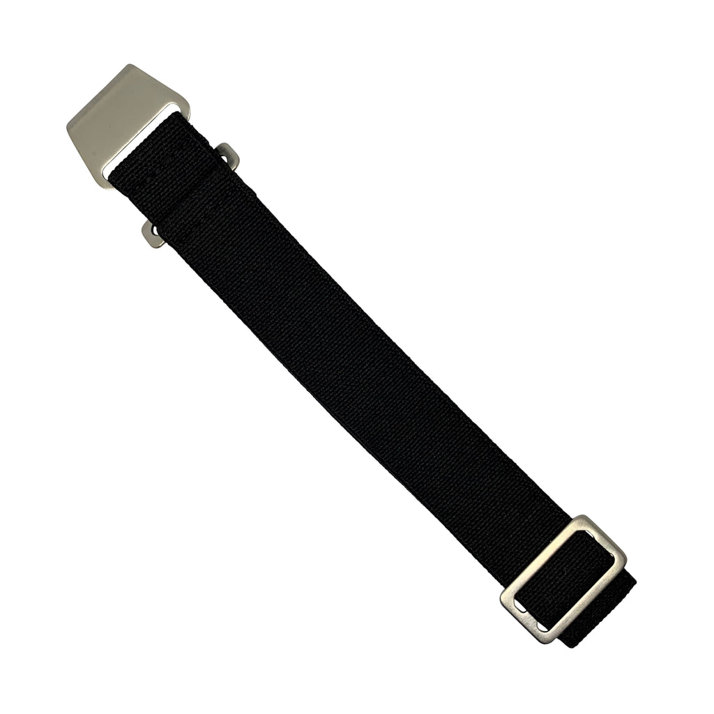 Marine Nationale Strap in Black with Silver Buckle (20mm)