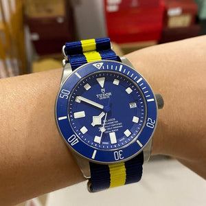 Premium Nato Strap in Navy Yellow with Polished Silver Buckle (22mm)