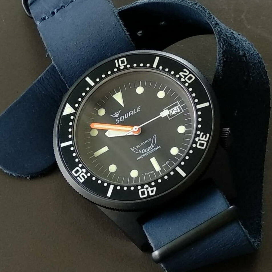 Premium Leather Nato Strap in Navy with Black Buckle (22mm)