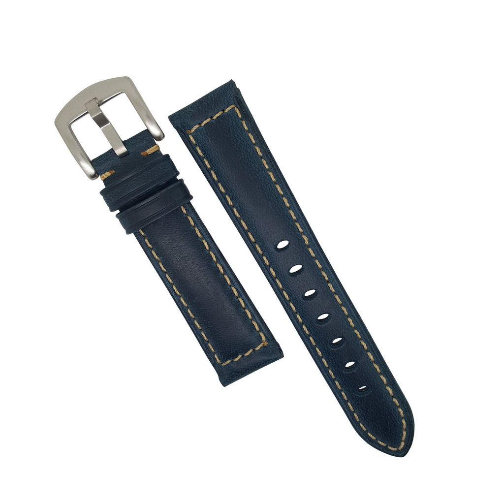 Oil Leather Watch Strap in Navy with Silver Buckle (20mm) - Nomadstore Singapore