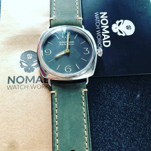 M1 Vintage Leather Watch Strap in Olive (24mm)