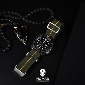Marine Nationale Strap in Olive Yellow with Silver Buckle (22mm)