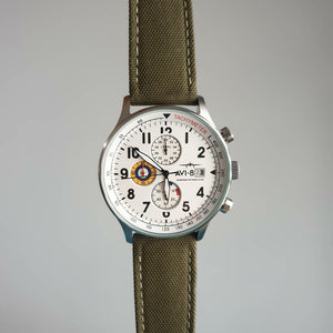 Canvas Watch Strap in Olive with Silver Buckle (22mm)