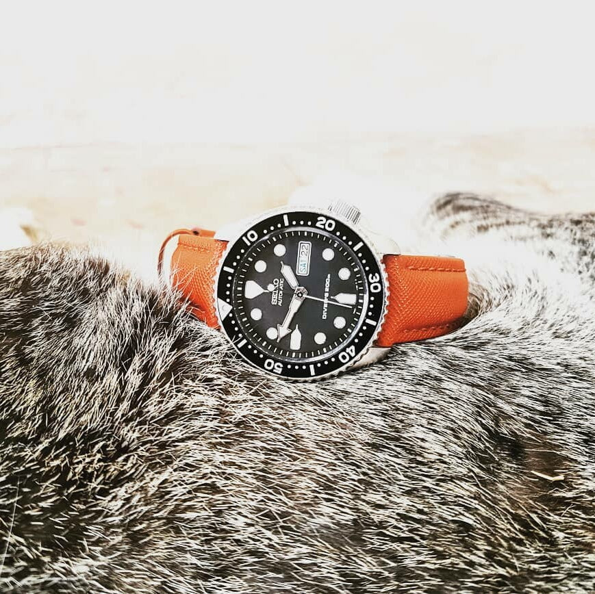 Premium Saffiano Leather Strap in Orange (18mm)
