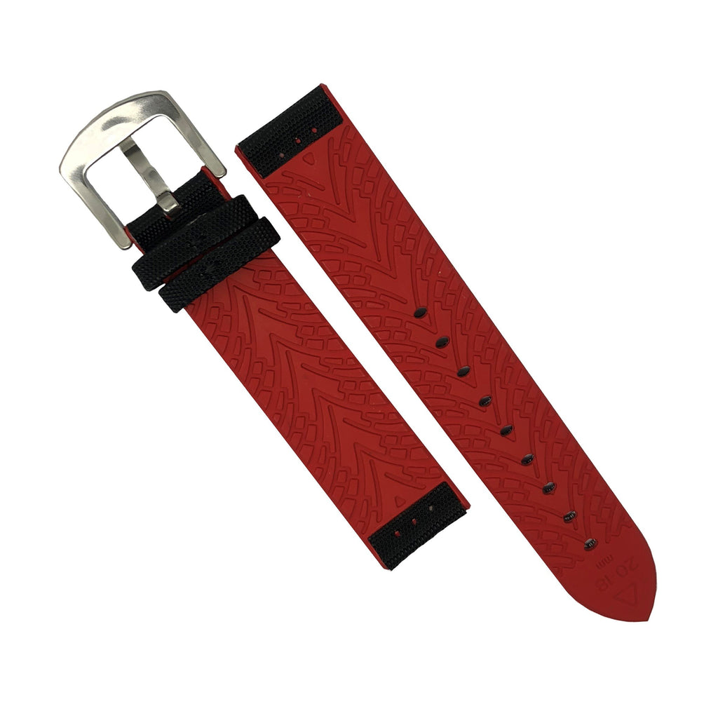 Performax N1 Hybrid Strap in Black with Red stitching (22mm)