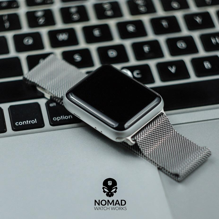 Apple Watch Milanese Mesh Strap in Silver (38 & 40mm) - Nomad watch Works