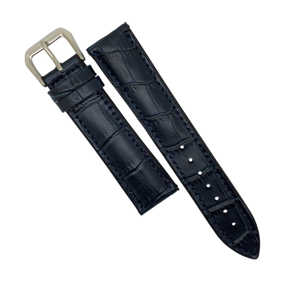 Performax Croc Pattern Leather Hybrid Strap in Navy (18mm)