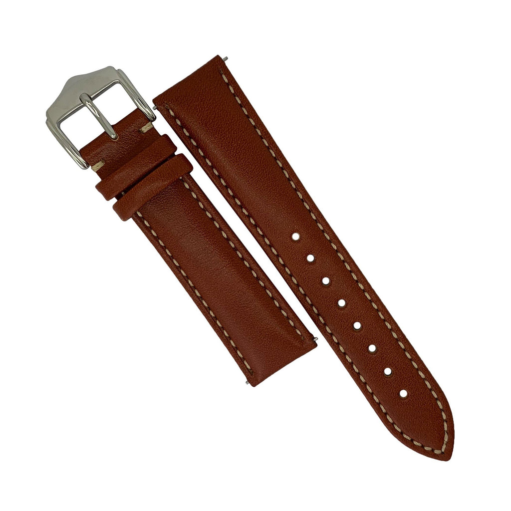 Quick Release Classic Leather Watch Strap in Tan (22mm)