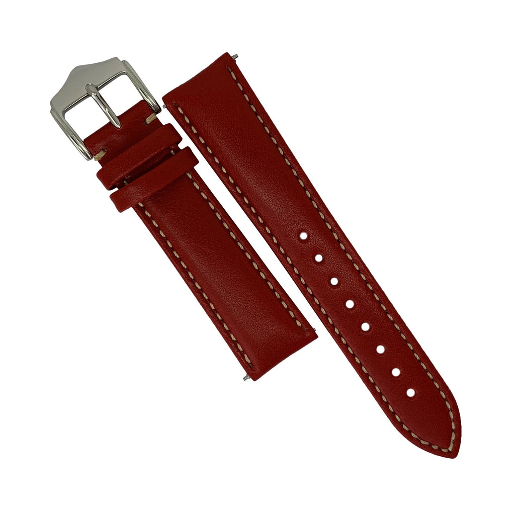 Quick Release Classic Leather Watch Strap in Red (22mm)