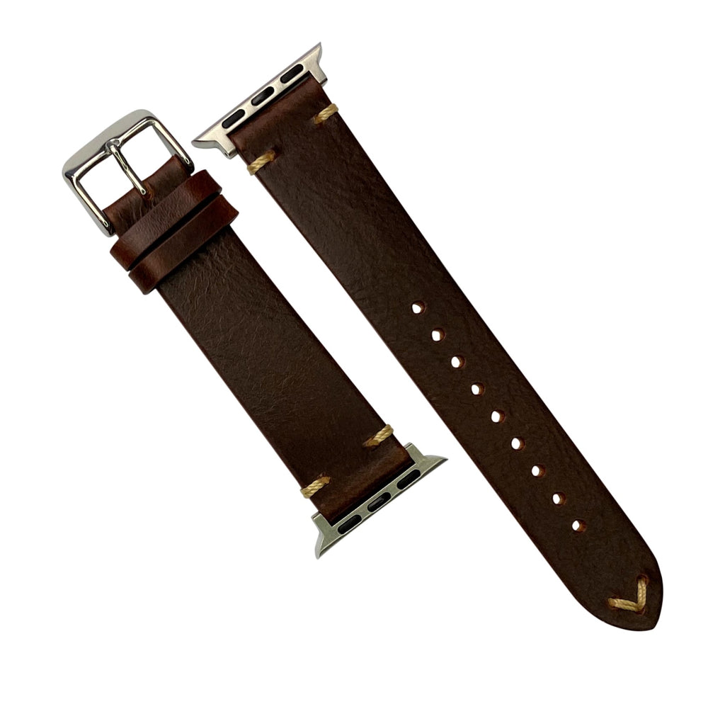 Apple Watch Premium Vintage Oil Waxed Leather Strap in Tan (42 & 44mm)