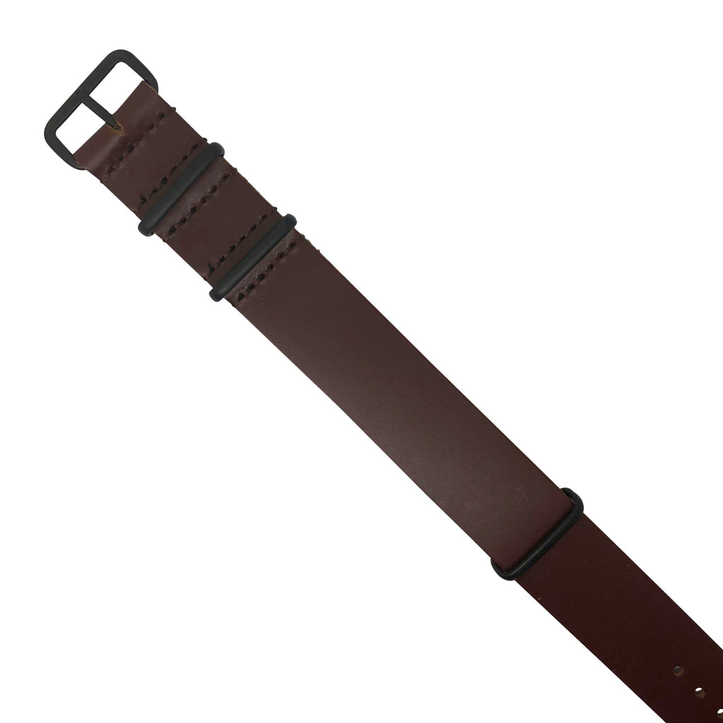 Premium Leather Nato Strap in Brown with Black Buckle (22mm)