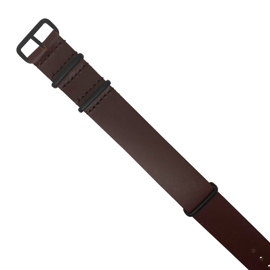 Premium Leather Nato Strap in Brown with Black Buckle (18mm)