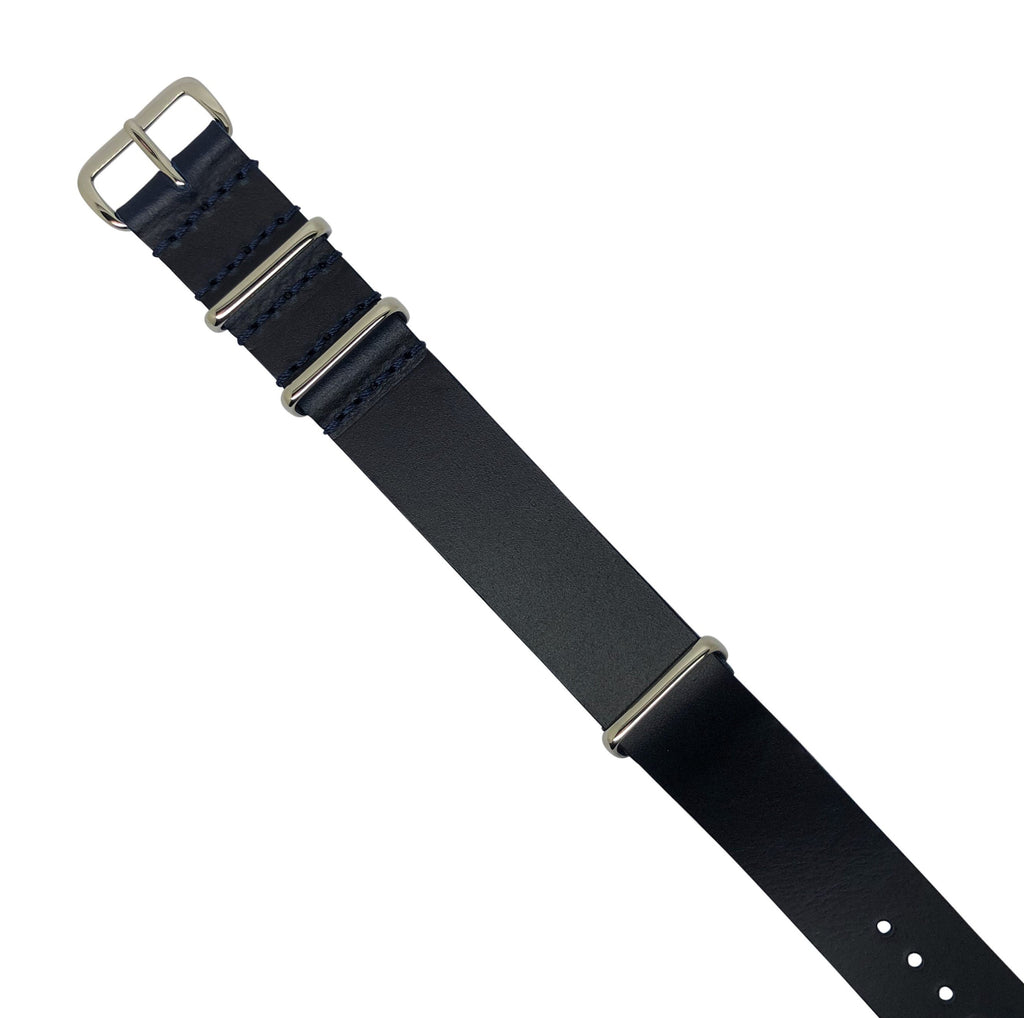 Premium Leather Nato Strap in Navy with Silver Buckle (20mm)