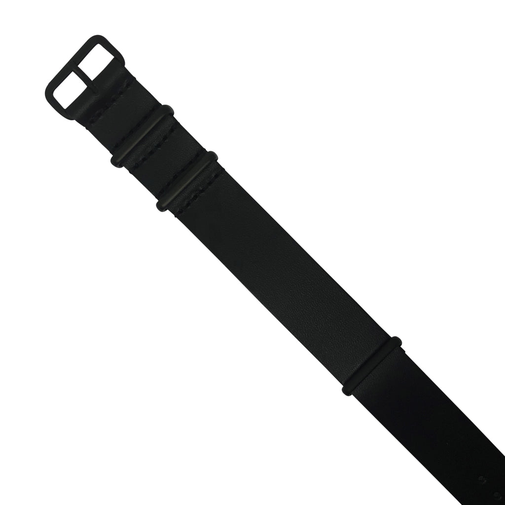 Premium Leather Nato Strap in Black with Black Buckle (18mm)