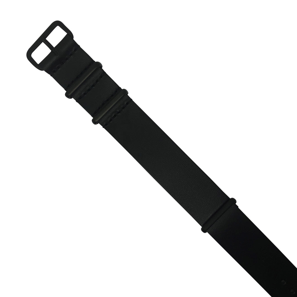 Premium Leather Nato Strap in Black with Black Buckle (22mm)