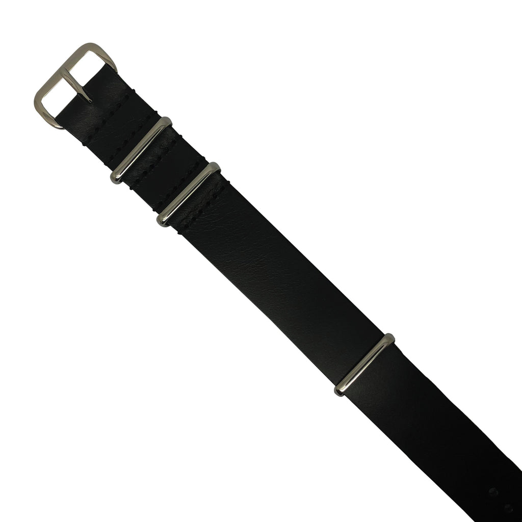 Premium Leather Nato Strap in Black with Silver Buckle (20mm)