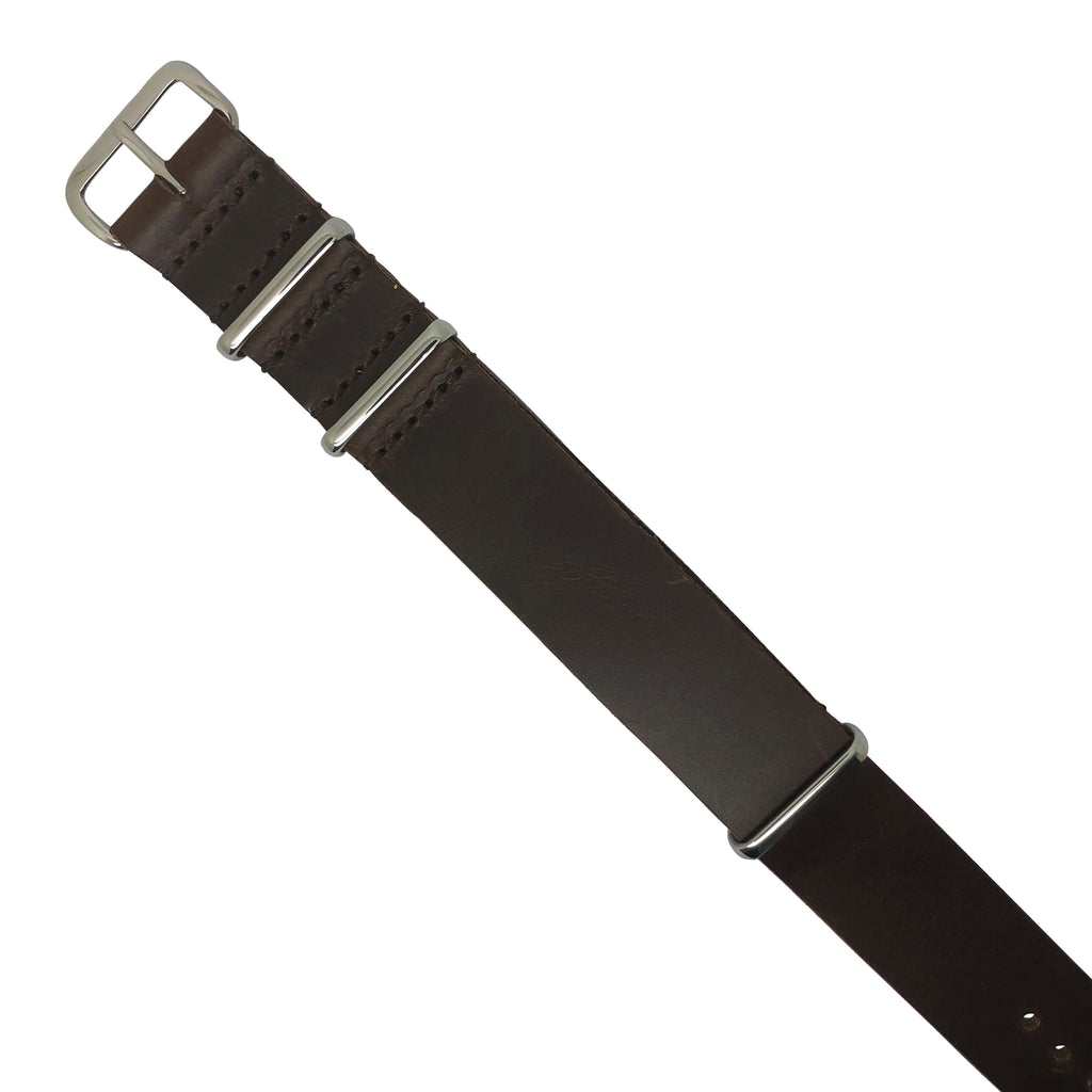 Premium Leather Nato Strap in Brown with Silver Buckle (18mm)