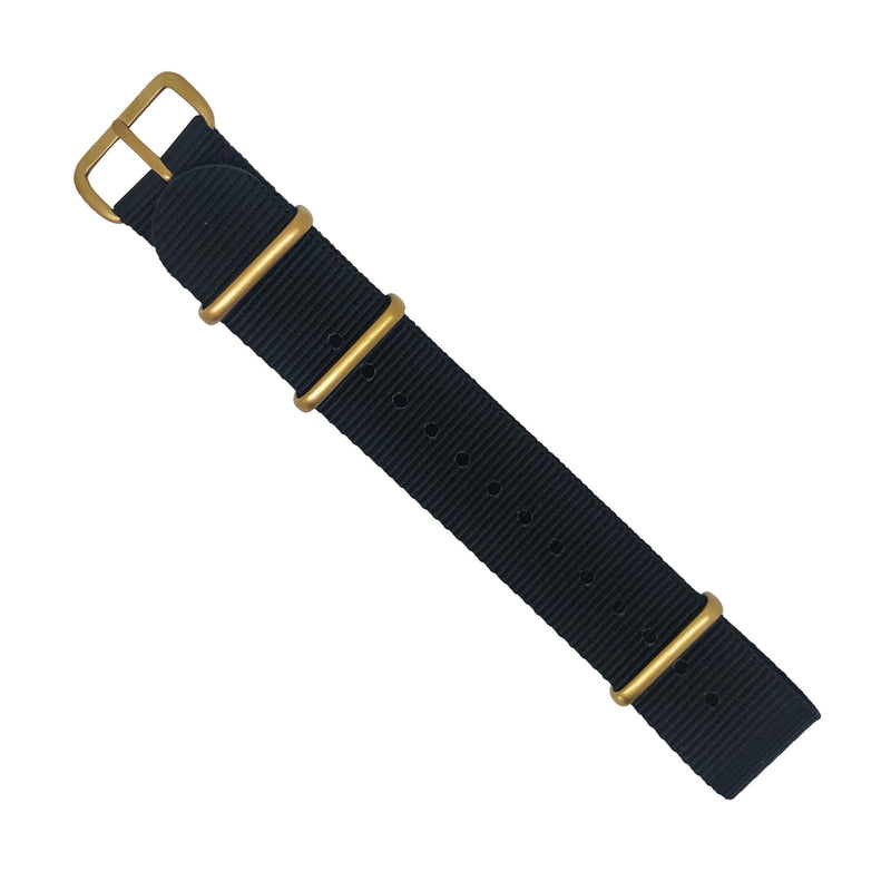 Premium Nato Strap in Black with Bronze Buckle (22mm)