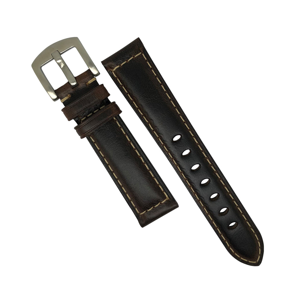 M2 Oil Waxed Leather Watch Strap in Brown with Silver Buckle (20mm) - Nomadstore Singapore