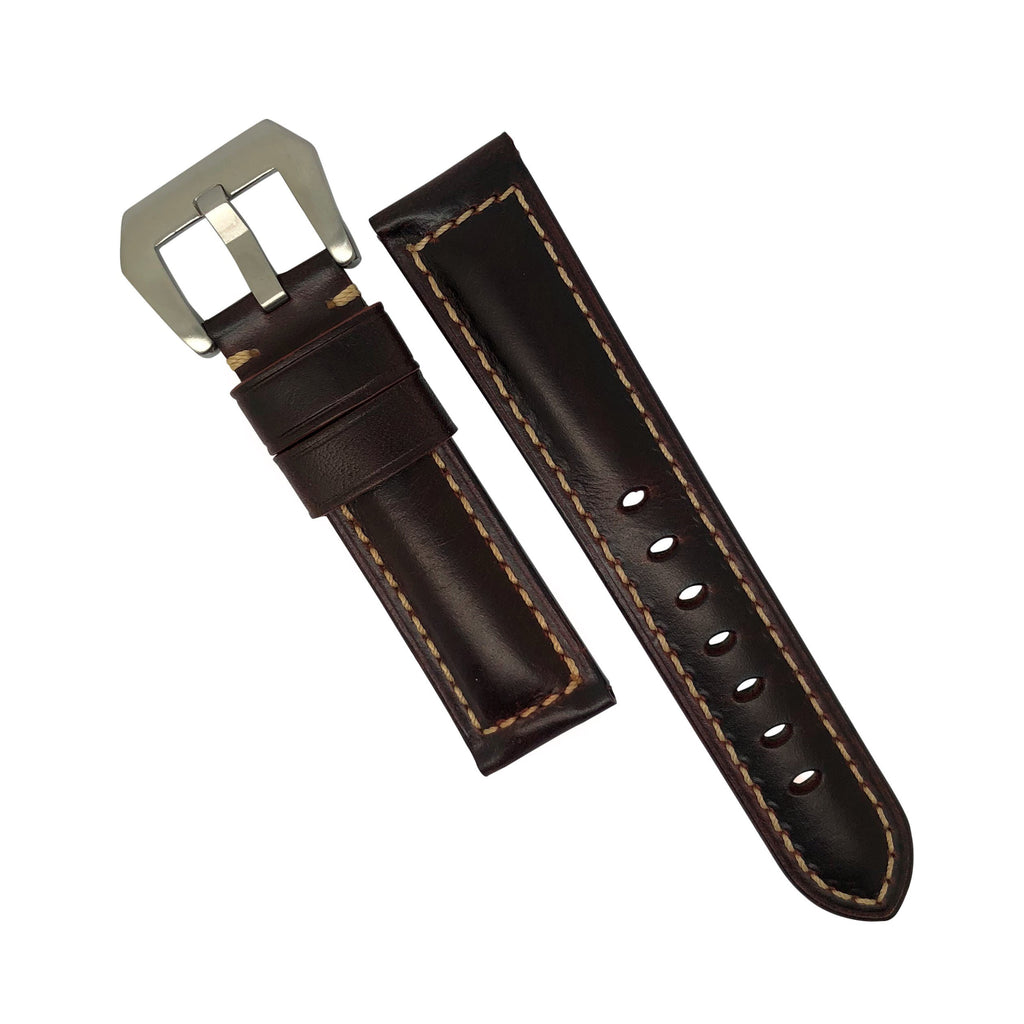 M2 Oil Waxed Leather Watch Strap in Brown with Pre-V Silver Buckle (22mm) - Nomadstore Singapore
