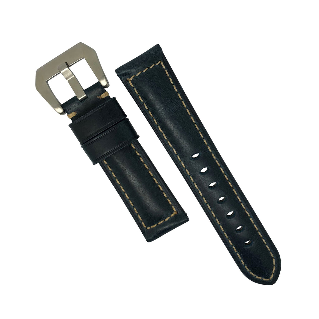 M2 Oil Waxed Leather Watch Strap in Navy (24mm)