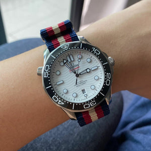 Premium Nato Strap in Navy Red Cream with Polished Silver Buckle (20mm)