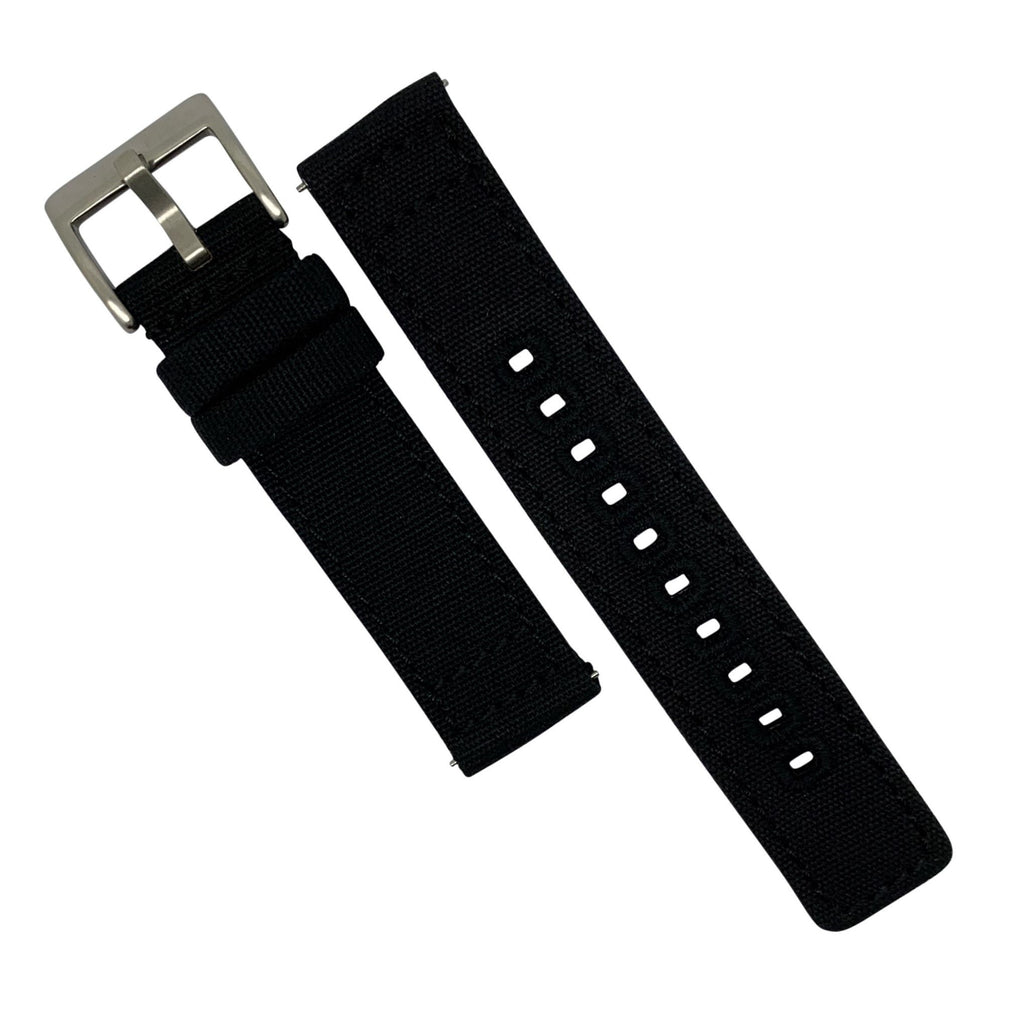 Quick Release Canvas Watch Strap in Black with Brushed Silver Buckle (22mm)
