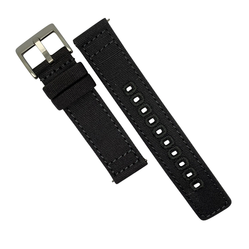 Quick Release Canvas Watch Strap in Grey with Brushed Silver Buckle (20mm)