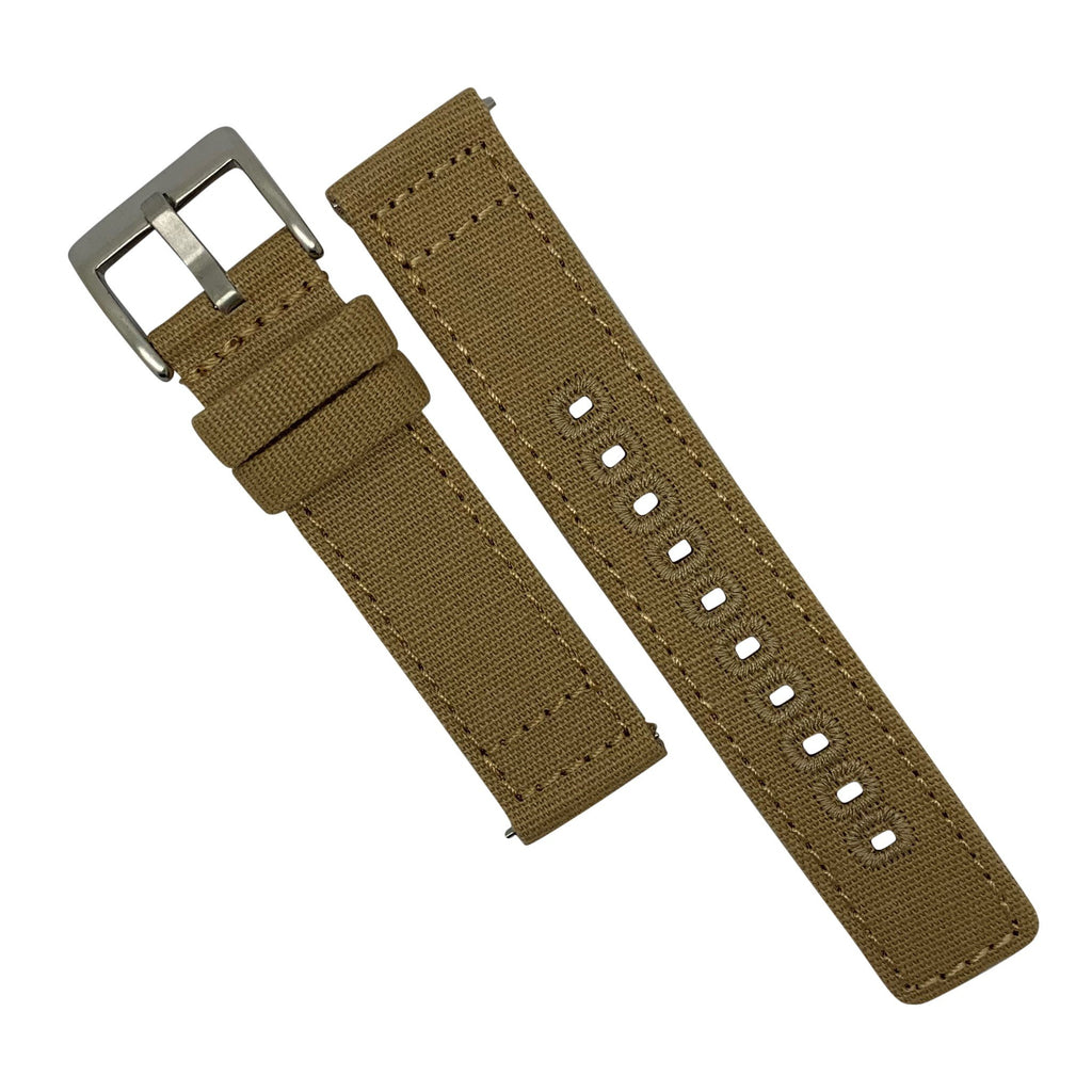 Quick Release Canvas Watch Strap in Khaki with Brushed Silver Buckle (22mm)