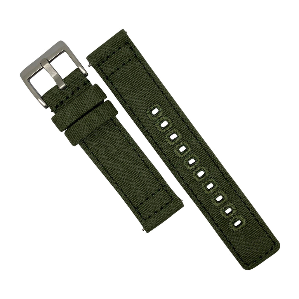 Quick Release Canvas Watch Strap in Olive with Brushed Silver Buckle (22mm)