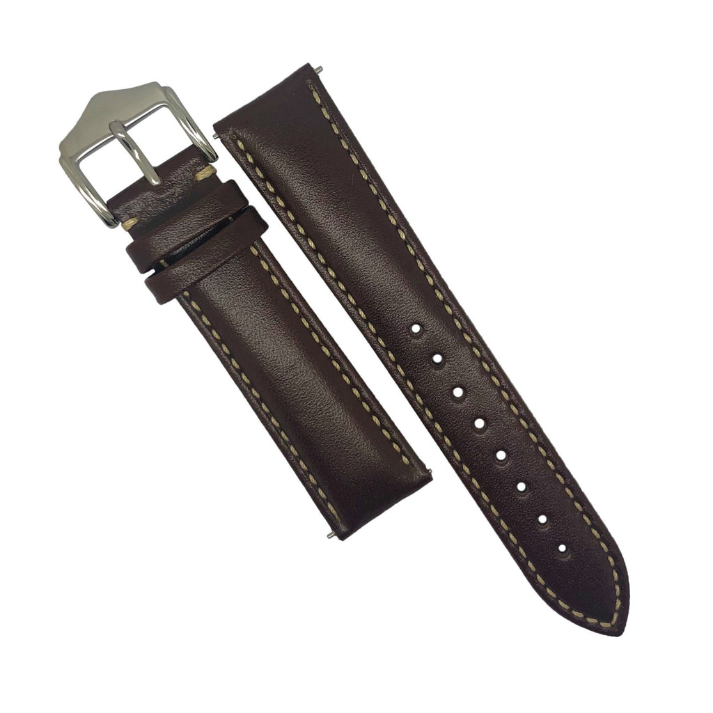 Quick Release Classic Leather Watch Strap in Brown (18mm)