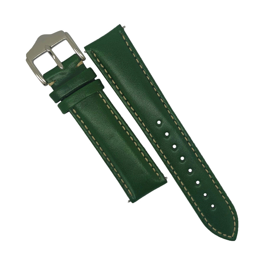 Quick Release Classic Leather Watch Strap in Green (22mm)