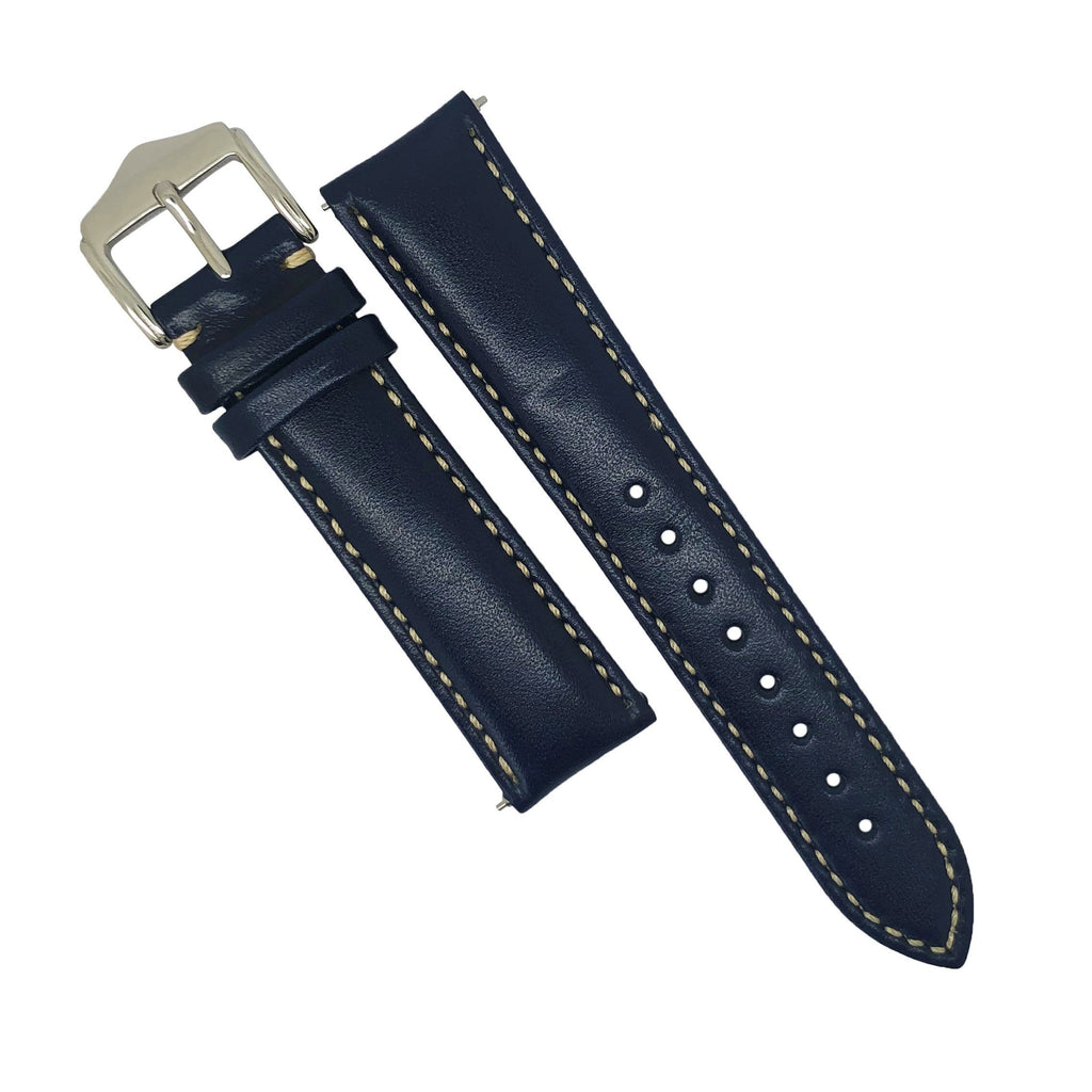 Quick Release Classic Leather Watch Strap in Navy (22mm)