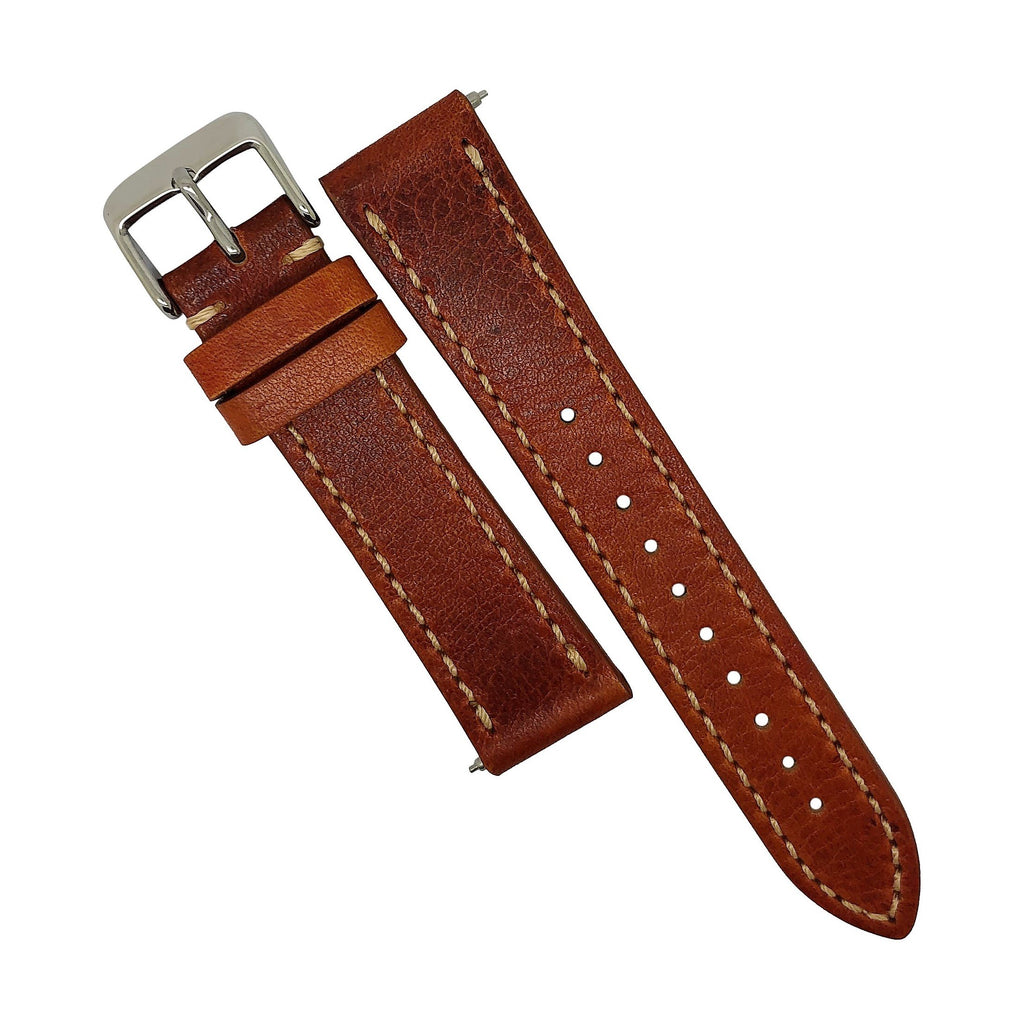 Quick Release Modern Leather Watch Strap in Amber (22mm)