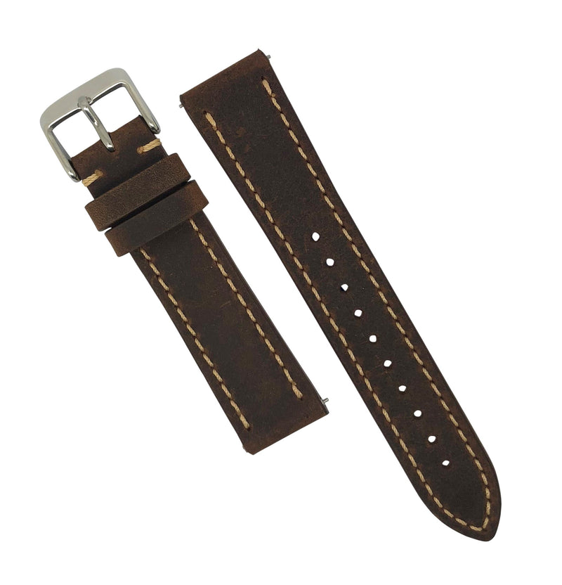 Quick Release Modern Leather Watch Strap in Brown (22mm)