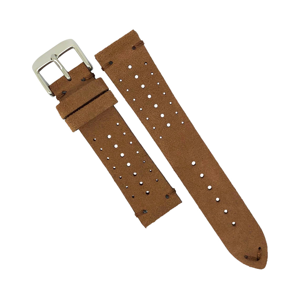 Premium Rally Suede Leather Watch Strap in Brown (22mm)