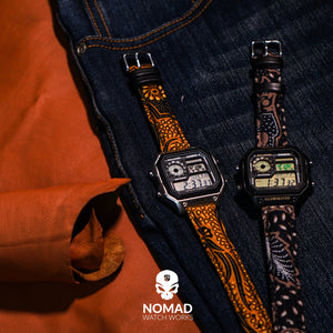 Batik Watch Strap in Sogan Black with Silver Buckle (20mm) - Nomad watch Works