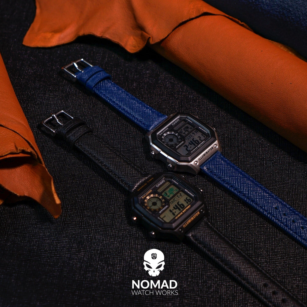 Premium Saffiano Leather Strap in Navy (22mm)