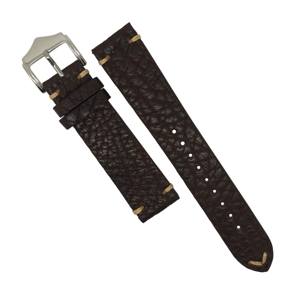 Premium Vintage Calf Leather Watch Strap in Distressed Brown (22mm)
