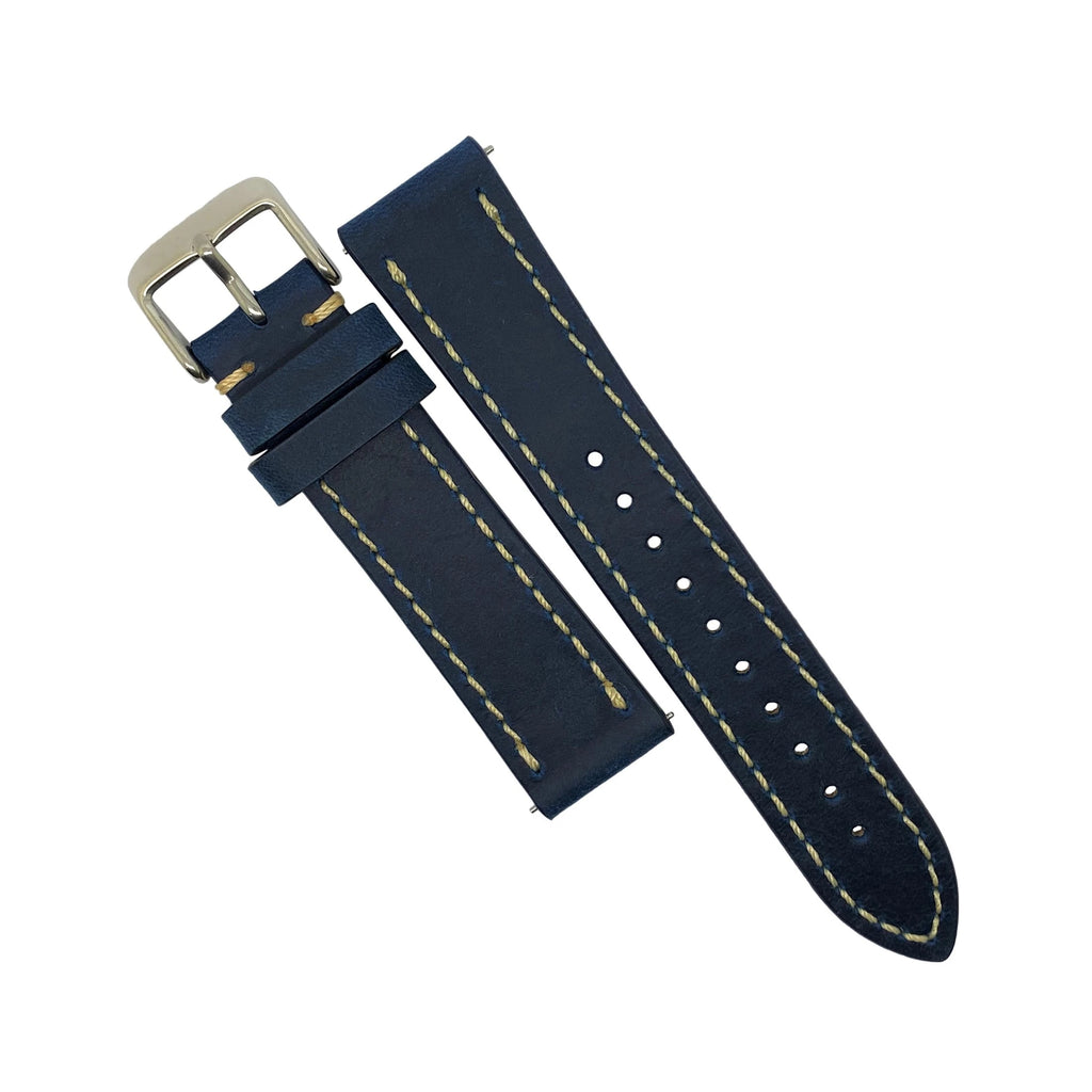 Quick Release Modern Leather Watch Strap in Blue (22mm)