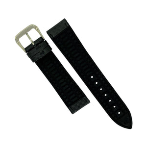 Performax Carbon Embossed Leather Hybrid Strap in Black Stitching (20mm)