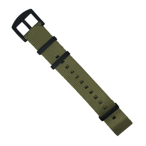 Seat Belt Nato Strap in Olive with Black Buckle (22mm)