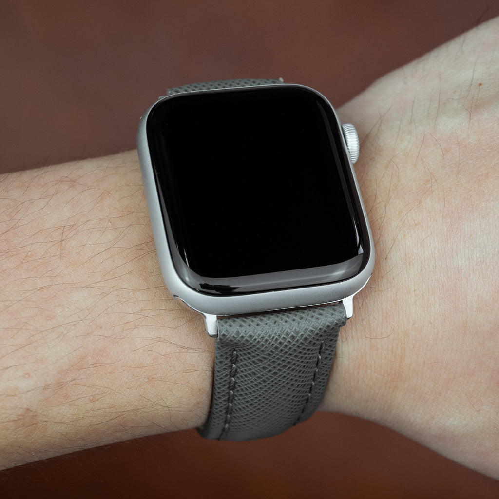Apple Watch Premium Saffiano Leather Strap in Grey (42 & 44mm)