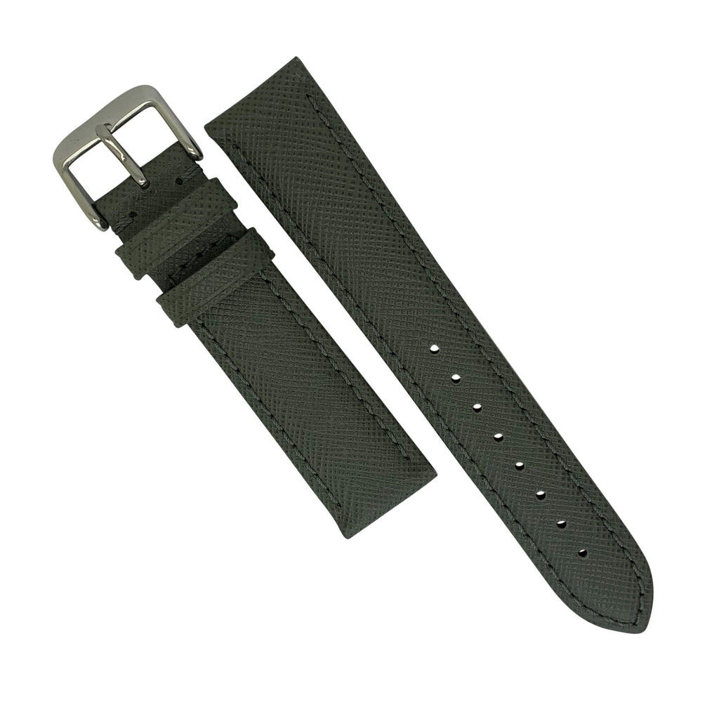 Premium Saffiano Leather Strap in Grey (18mm)