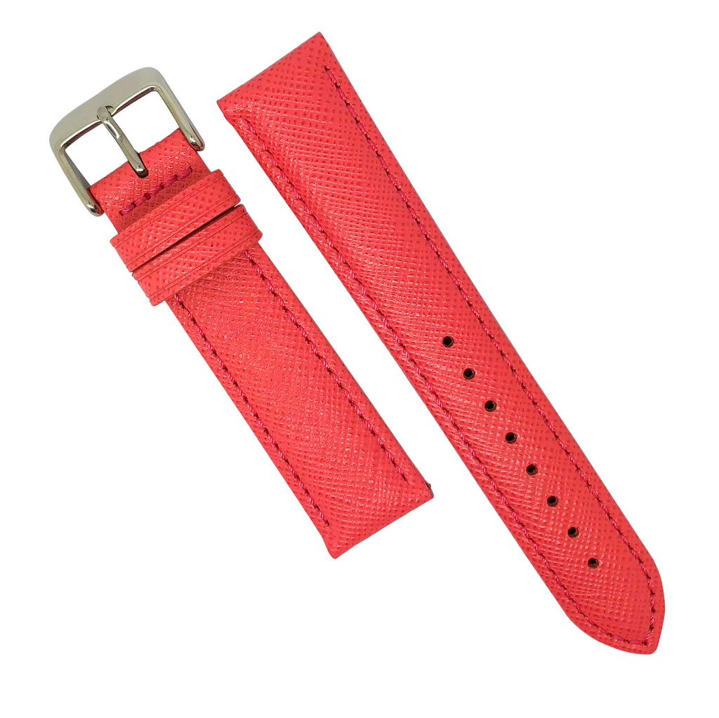 Premium Saffiano Leather Strap in Pink (20mm)